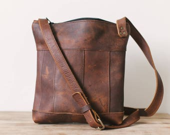 Large Panelled Crossbody - Brown Kodiak Leather