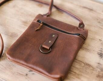 Small Zippered Crossbody - Brown Kodiak Leather