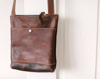 Small Crossbody with Snap Button Pocket - Brown Kodiak Leather