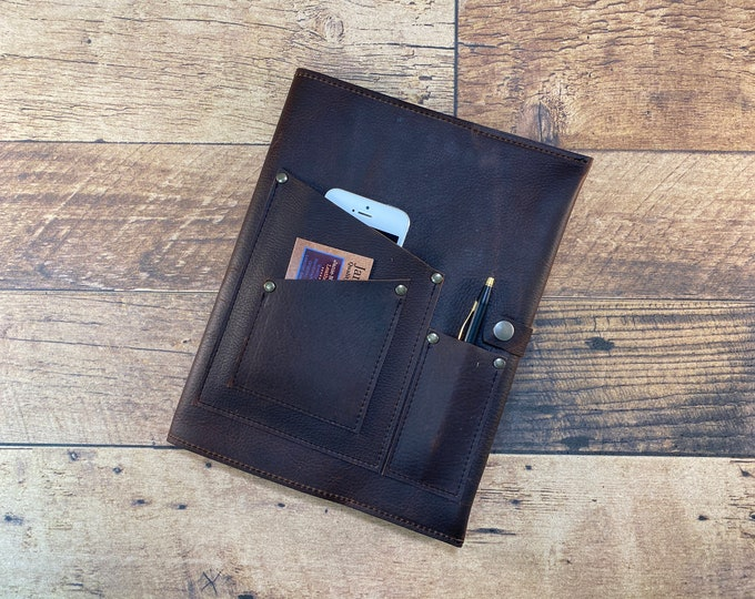 Featured listing image: Heavy Duty Kodiak Leather Journal Cover with Phone Pocket