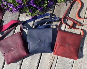 Small Crossbody - Kodiak Leather - Blue, Red or Purple