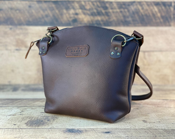Featured listing image: Curved Top Zippered Tote with Detachable Straps | Brown Kodiak Leather