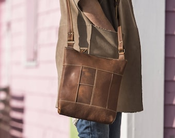Large Panelled Crossbody - Caramel Kodiak Leather