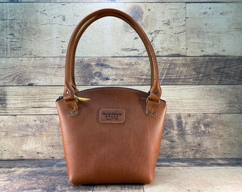 Curved Top Zippered Tote - Orange Leather