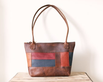 Zippered Tote - Brown Kodiak Leather, Multi Coloured Leather