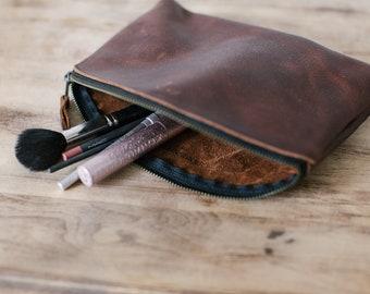 Makeup Bag - Brown Kodiak Leather