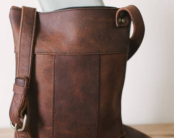 Medium Panelled Crossbody - Brown Kodiak Leather