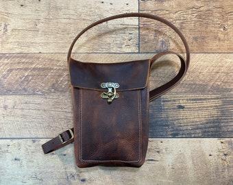 Small Crossbody with Swing Clasp - Brown Kodiak Leather