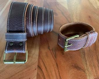 Kodiak Leather Belt With Matching Bracelet