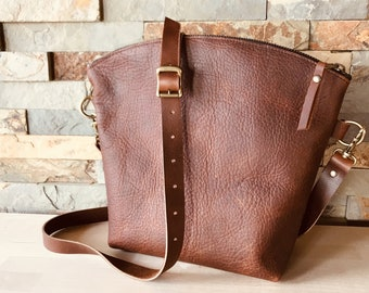 Curved Top Crossbody - Brown Kodiak Leather