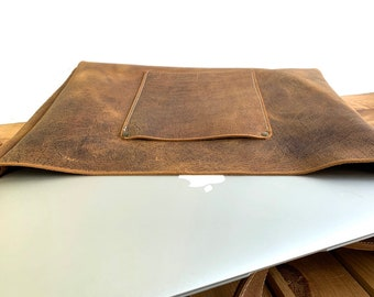 Large Heavy Duty Messenger - Crazy Horse Water Buffalo Leather