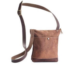 Small Crossbody with Snap Button Pocket - Brown Kodiak Leather, Rust Coloured Leather