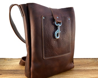 Large Tote with Adjustable Strap - Brown Kodiak Leather