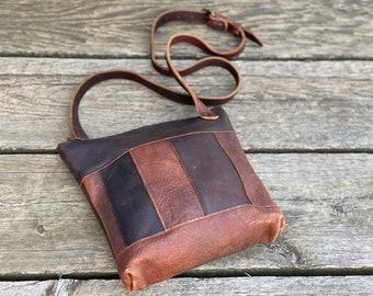 Large Panelled Crossbody   Brown Kodiak Leather