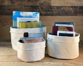 Set of  Canvas Storage Baskets   Small, Medium and Large Canvas Baskets