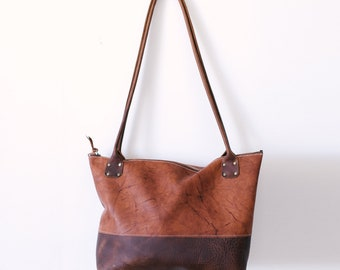 Zippered Tote - Brown Kodiak Leather, Rust Coloured Leather