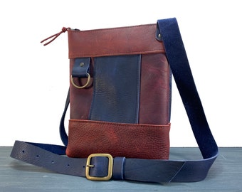 Small Crossbody with Zipper - Multi-Coloured Kodiak Leather