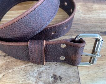 Kodiak Leather Belt with Nickel Plate or Antique Brass Hardware
