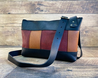Multi Coloured Leather Crossbody with Zipper