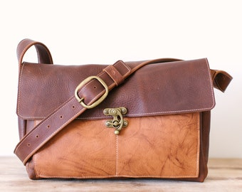 Two Tone Medium Messenger with Swing Clasp - Brown Kodiak Leather, Rust Coloured Leather