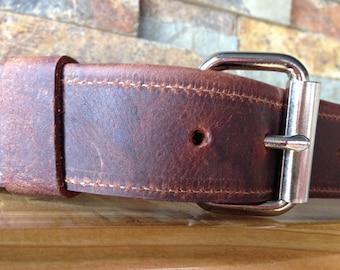 Kodiak Leather Belt with Nickel Plate Buckle