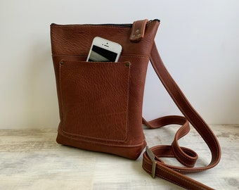 Medium Crossbody -  Heavy Duty Cinnamon Leather