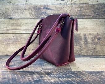Curved Top Zippered Tote - Purple Kodiak Leather