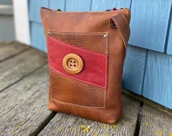 Medium Crossbody   Caramel Kodiak Leather with Button