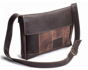 Two Tone Large Panelled Messenger - Brown Kodiak Leather