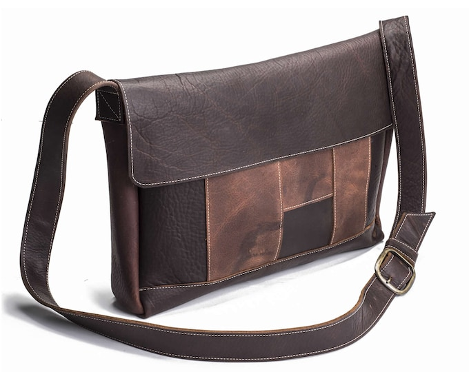 Featured listing image: Two Tone Large Panelled Messenger | Brown Kodiak Leather