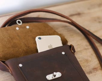 Small Crossbody with Swing Clasp - Brown Kodiak Leather