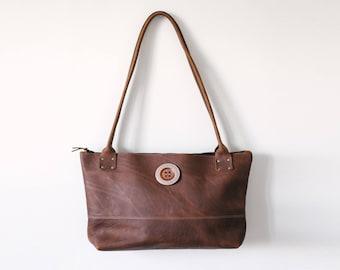 Zippered Tote - Brown Kodiak Leather