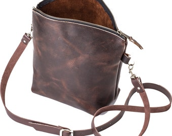 Curved Top Crossbody - Dark Brown Kodiak Leather