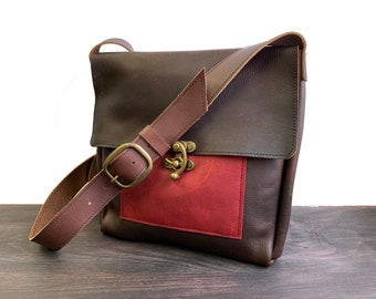 Medium Messenger with Swing Clasp - Brown Kodiak Leather with Burgundy Pocket
