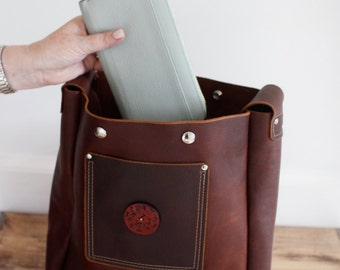 Large Tote with Wide Strap - Brown Kodiak Leather