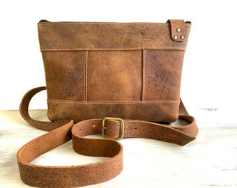 Small Crossbody with Zipper - Crazy Horse Water Buffalo Leather