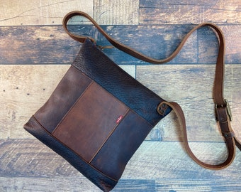 Large Panelled Crossbody with Levis Tag - Brown Kodiak Leather
