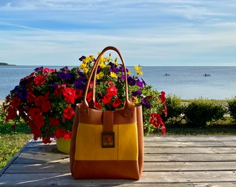 Yellow and Orange Leather Tote