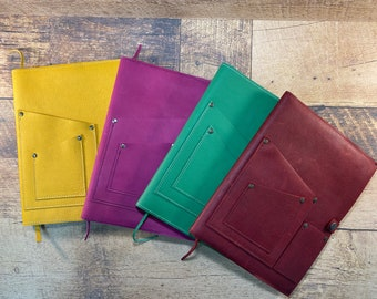 Leather Journal Cover with Phone Pocket