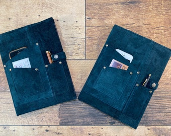 Vintage Green Suede Journal Cover with Phone Pocket