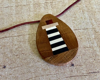 Wooden Lighthouse Pendant Necklace with Leather Cord   Magnetic Clasp