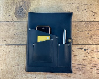 Heavy Duty Leather Journal Cover with Phone Pocket   Black Kodiak Leather