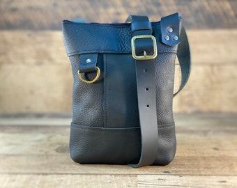Small Crossbody with Zipper   Black Kodiak Leather