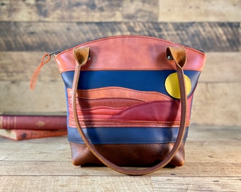 Red Sand Dunes Scene Curved Top Zippered Tote   Kodiak Leather