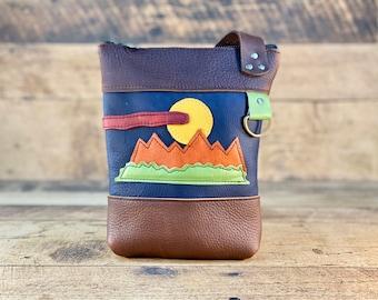 Small Crossbody with Zipper   Mountain Theme