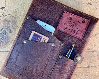 Heavy Duty Kodiak Leather Journal Cover With Phone Pocket
