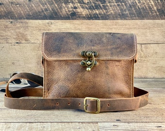 Small Crossbody with Swing Clasp   Crazy Horse Water Buffalo Leather
