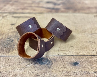 Leather Napkin Rings   Set of Four