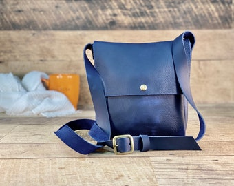 Small Crossbody   Blue Kodiak Leather
