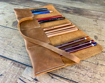 Leather Pen Holder   Art Pencil Case   Crafts Tool Roll Up